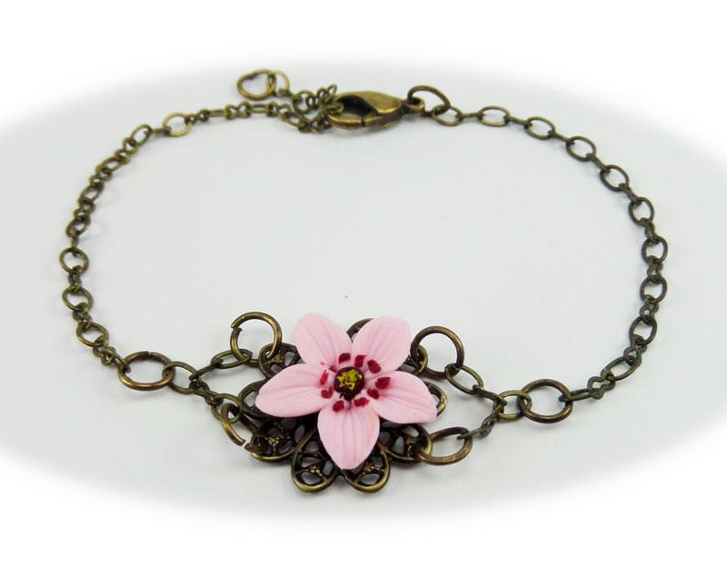 Pink Cherry Blossom Clasp Bracelet Stranded Treasures