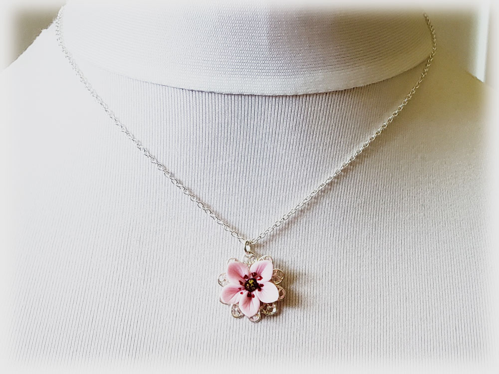 Pink Cherry Blossom Charm Necklace Cherry Blossom Jewelry