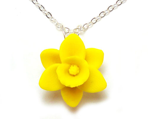 Daffodil Necklace Yellow Daffodil Pendant Stranded