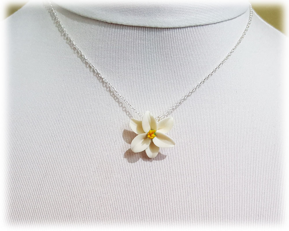 Easter Lily Necklace White Easter Lily Pendant