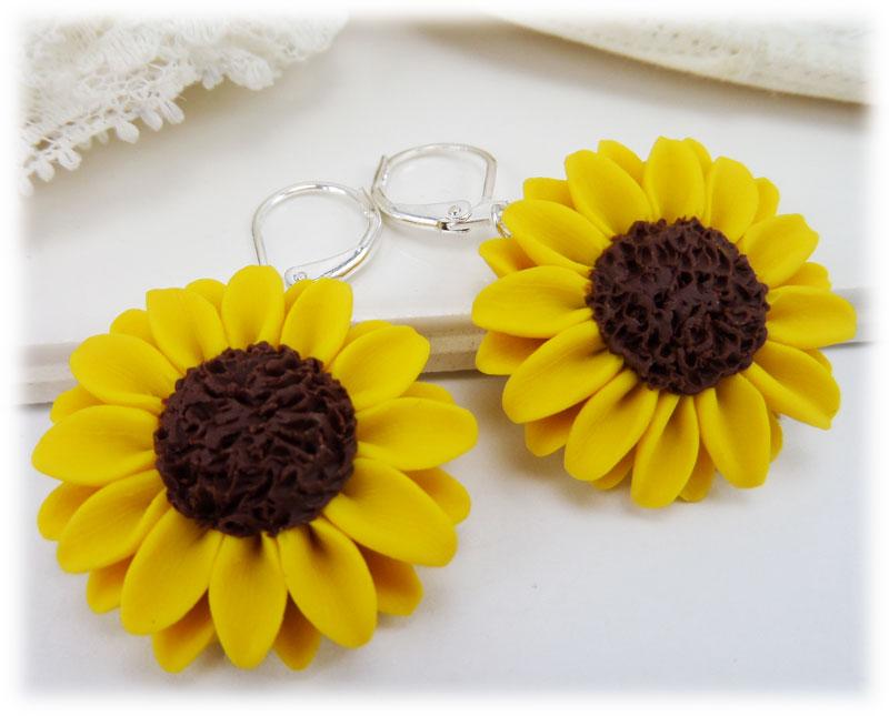 Large Yellow Sunflower Earrings Stranded Treasures