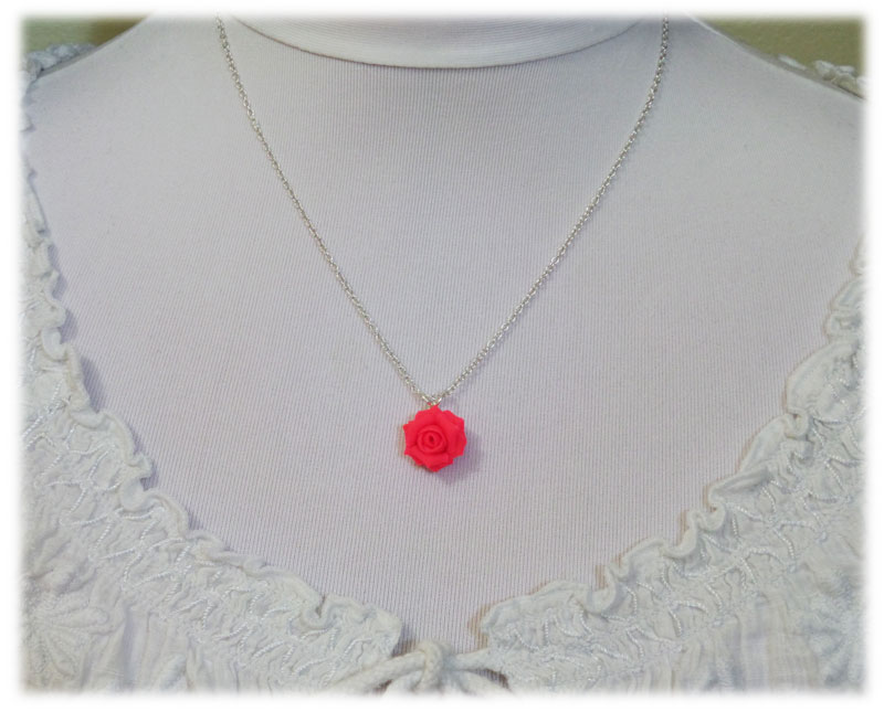 Neon pink rose necklace fluorescent pink flower necklace neon pink rose necklace audiocablefo