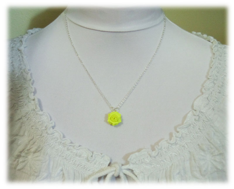 Neon yellow rose necklace fluorescent yellow flower necklace neon yellow rose necklace mozeypictures Gallery