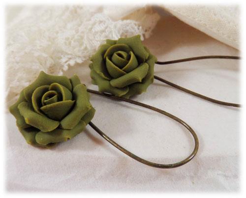 olive green rose drop earrings amp dangle earrings
