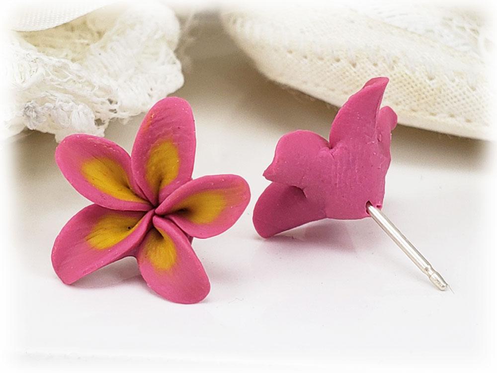 Pink Plumeria Stud Earrings