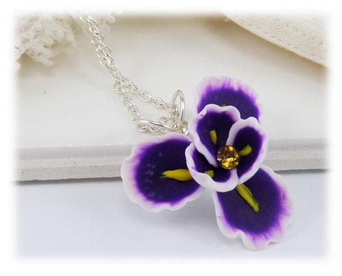 Purple Iris Flower Pendant Necklace