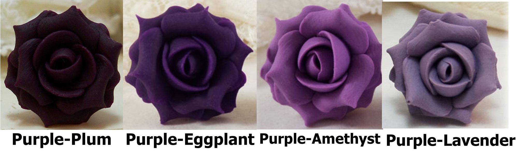 Purple Rosebud Stud Earrings