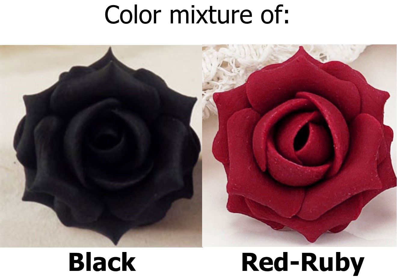red black tip rose earrings