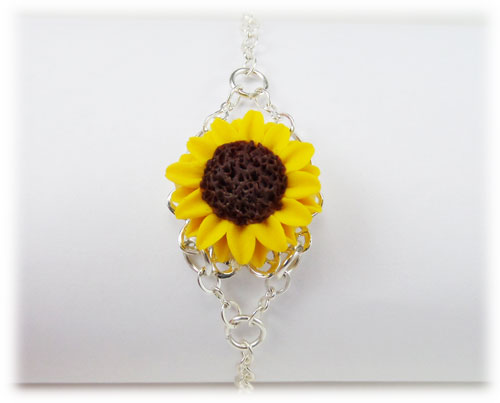 Yellow Sunflower Clasp Bracelet Stranded Treasures