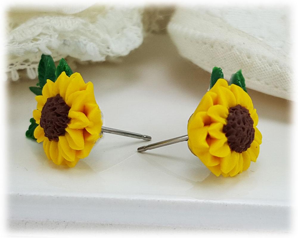 Sunflower Ear Climber Earrings Floral Ear Crawlers