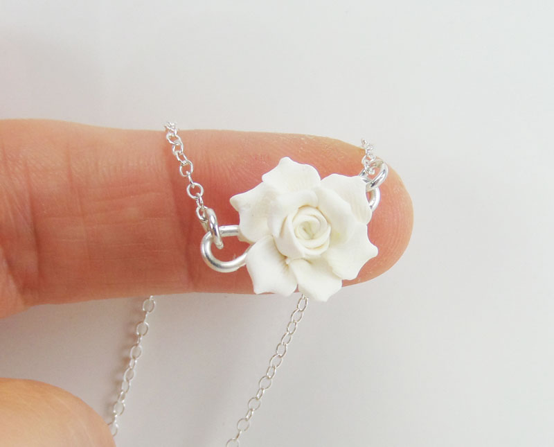Tiny Gardenia Necklace Simple Flower Necklace Stranded