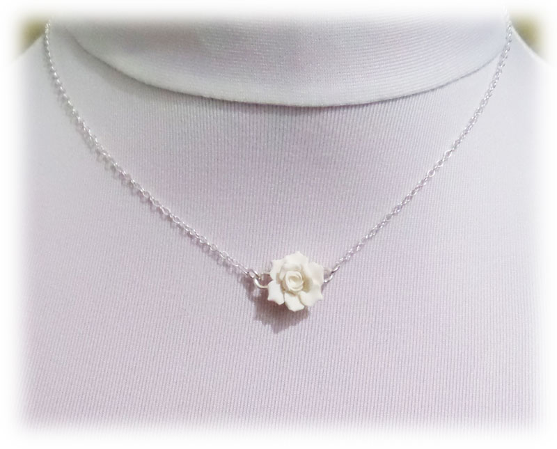 simple tiny necklace flower gardenia