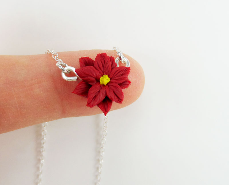 Tiny Poinsettia Necklace Simple Flower Necklace