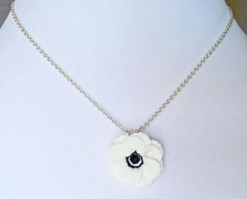 White Anemone Necklace White Anemone Pendant Stranded
