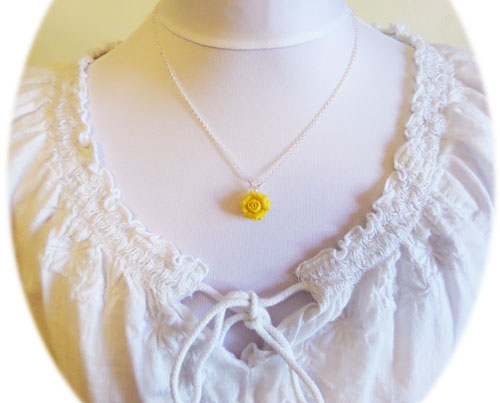 Yellow rose necklace stranded treasures yellow rose necklace mozeypictures Image collections