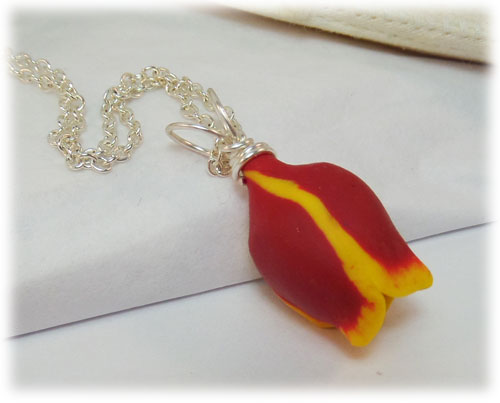 Yellow Tipped Red Tulip Necklace Red Tulip Jewelry