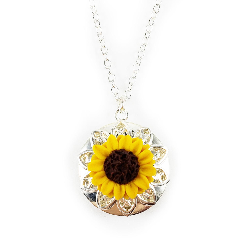Sunflower Locket Necklace Sunflower Jewelry