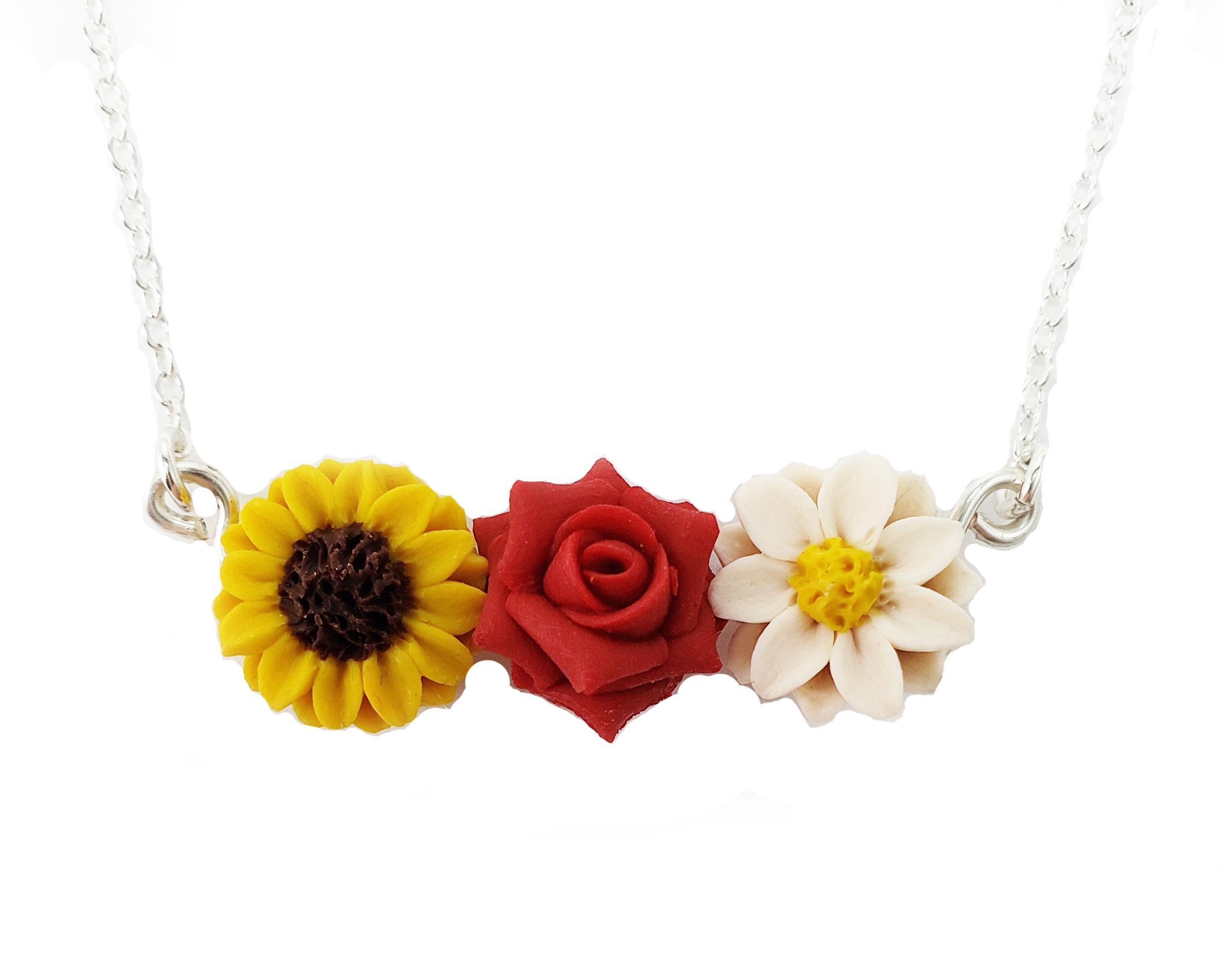 Three Flowers Garden Necklace Daisy Rose Sunflower