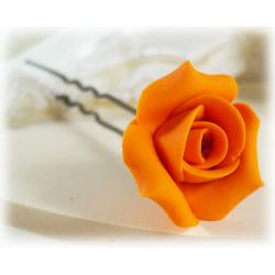 Orange Rosebud Hair Pins