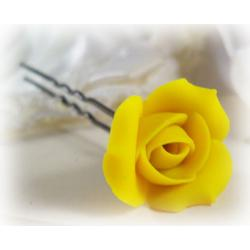 Yellow Rosebud Hair Pins