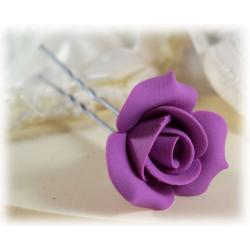 Purple Rosebud Hair Pins