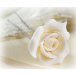 White Bridal Rosebud Hair Pins