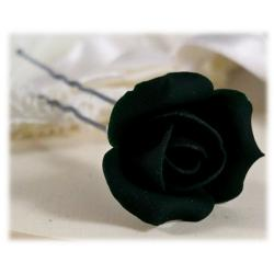 Black Rosebud Hair Pins
