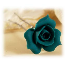 Teal Rosebud Hair Pin