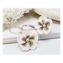 White Champagne Hibiscus Earrings