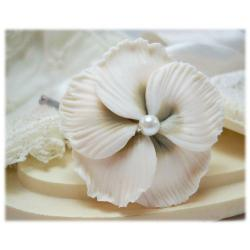 White Champagne Hibiscus Hair Pins