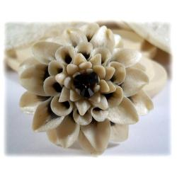 White Pearl Black Dahlia Brooch Pin