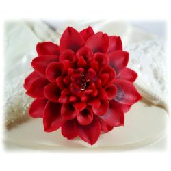 Red Dahlia Brooch Pin