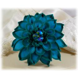 Turquoise Dahlia Brooch Pin