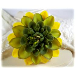 Yellow Green Dahlia Brooch Pin