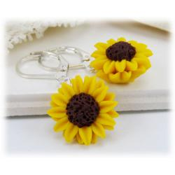 Yellow Sunflower Drop Earrings