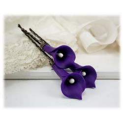 Purple Calla Lily Hair Pins