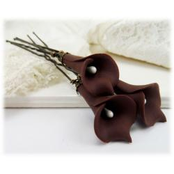 Brown Calla Lily Hair Pins