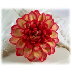 Red Ecru Dahlia Brooch Pin