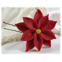 Red Poinsettia Hair Pins