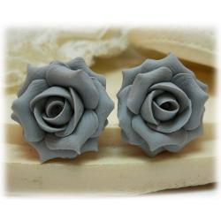 Gray Rose Stud Earrings