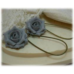 Gray Rose Drop Earrings