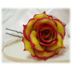 Fire Tipped Rose Hair Pins