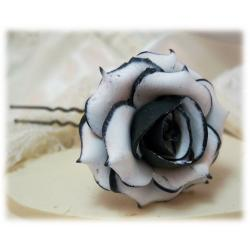 Black Tipped White Rose Hair Pins