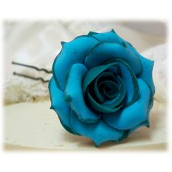 Teal Tipped Turquoise Rose Hair Pins