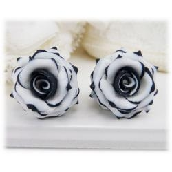 Black Tipped White Rose Earring Studs