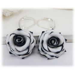 Black-tipped Rose Drop Earrings
