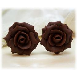 Brown Chocolate Rose Stud Earrings