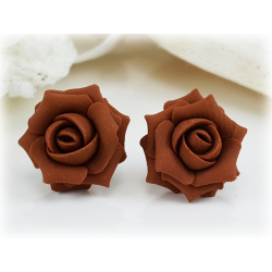 Brown Coffee Rose Stud Earrings