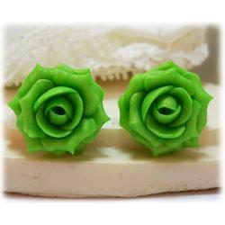 Apple Green Rose Stud Earrings & Clip On Earrings