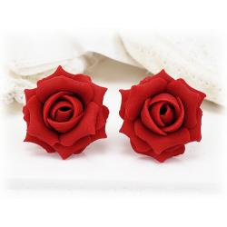 Red Apple Rose Stud Earrings